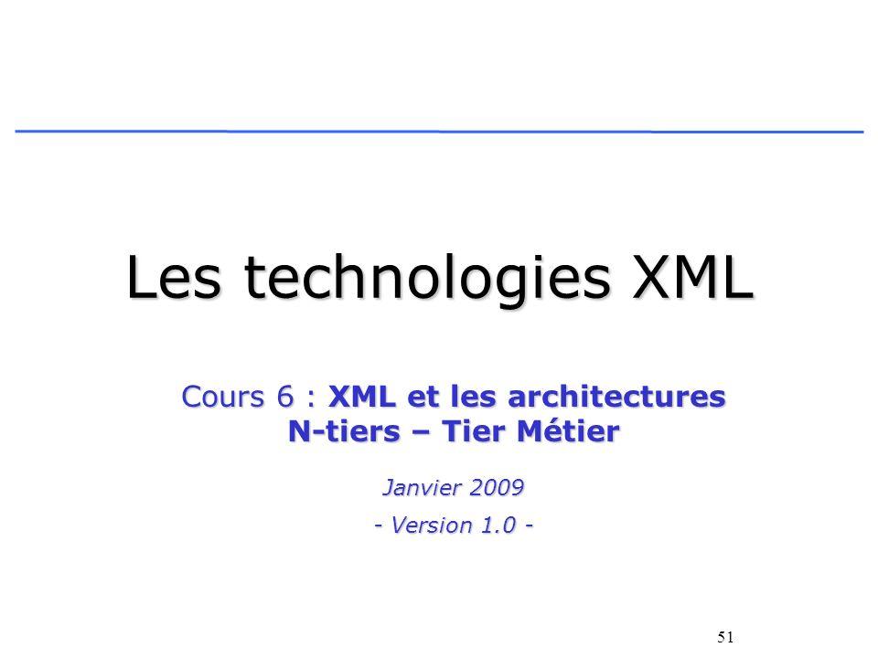 51 Les technologies XML Cours 6 : XML et les architectures N-tiers – Tier Métier Janvier 2009 - Version 1.0 -