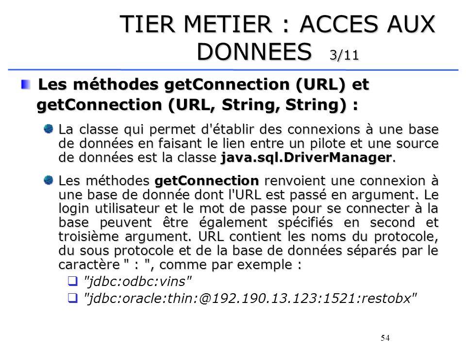 55 TIER METIER : ACCES AUX DONNEES 4/11 Linterface java.sql.Connexion : Cette interface spécifie une connexion à une base de données particulière.