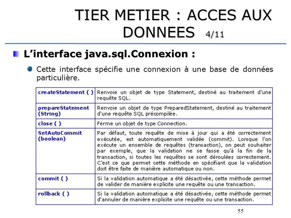 56 TIER METIER : ACCES AUX DONNEES 5/11 Le package java.sql Le package java.sql Il permet de manipuler trois types de requêtes SQL : Il permet de manipuler trois types de requêtes SQL : celles spécifiées par linterface Statement qui permet la manipulation de requêtes statiques (ne contenant aucun paramètre en entrée), celles spécifiées par linterface PreparedStatement qui permet la manipulation de requêtes dynamiques (ces requêtes sont pré-compilées puis des paramètres en entrée leur sont spécifiés avant chaque utilisation) et celles spécifiées par linterface CallableStatement qui permet la manipulation de procédures stockées (procédures stockées dans la base de données et écrites à l aide du langage PL/SQL).