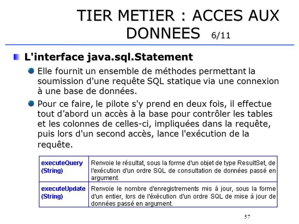 58 TIER METIER : ACCES AUX DONNEES 7/11 L interface java.sql.ResultSet Cette interface permet lors d une consultation de données de parcourir les informations reçues.