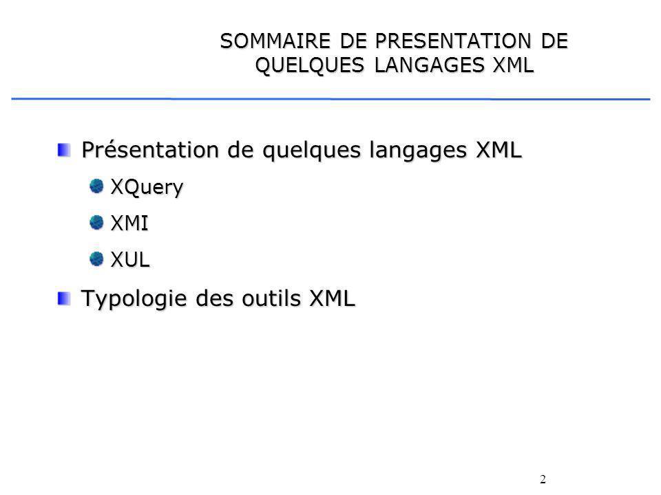 2 SOMMAIRE DE PRESENTATION DE QUELQUES LANGAGES XML Présentation de quelques langages XML XQueryXMIXUL Typologie des outils XML