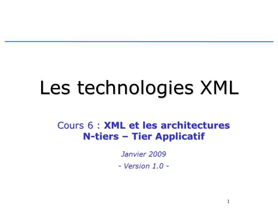 1 Les technologies XML Cours 6 : XML et les architectures N-tiers – Tier Applicatif Janvier 2009 - Version 1.0 -