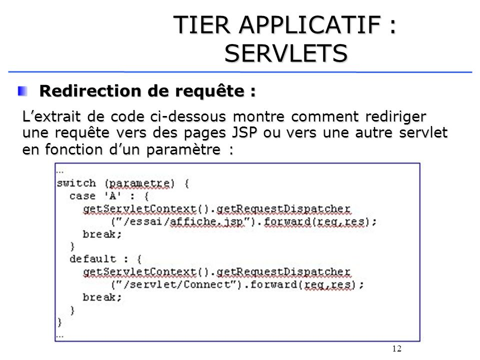 12 TIER APPLICATIF : SERVLETS Redirection de requête : Redirection de requête : Lextrait de code ci-dessous montre comment rediriger une requête vers