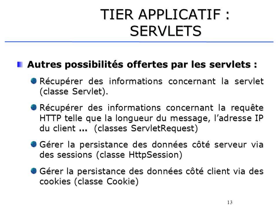 13 TIER APPLICATIF : SERVLETS Autres possibilités offertes par les servlets : Récupérer des informations concernant la servlet (classe Servlet). Récup