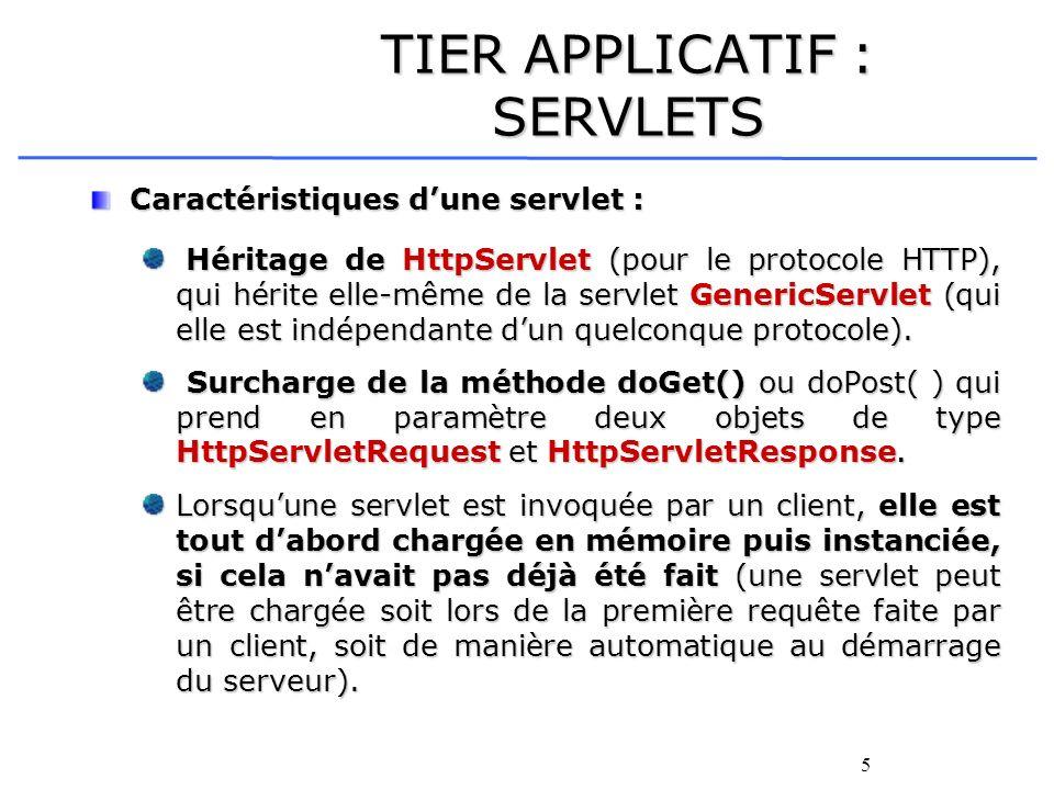 5 TIER APPLICATIF : SERVLETS Caractéristiques dune servlet : Héritage de HttpServlet (pour le protocole HTTP), qui hérite elle-même de la servlet Gene