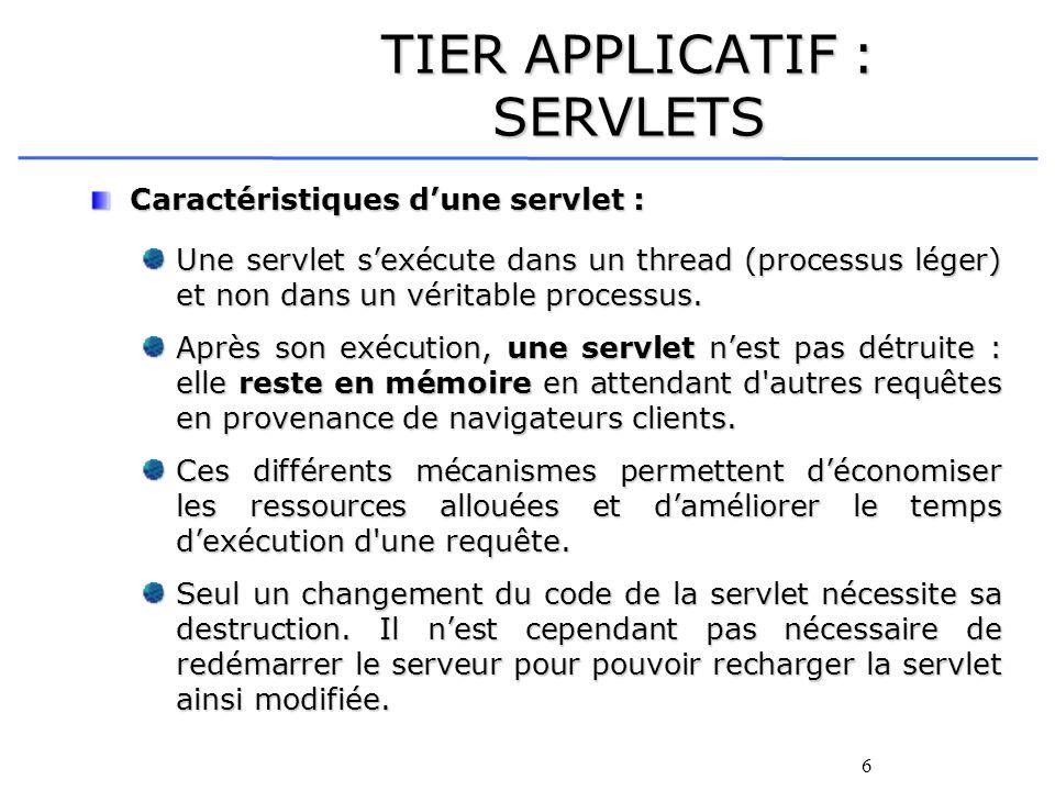 6 TIER APPLICATIF : SERVLETS Caractéristiques dune servlet : Une servlet sexécute dans un thread (processus léger) et non dans un véritable processus.