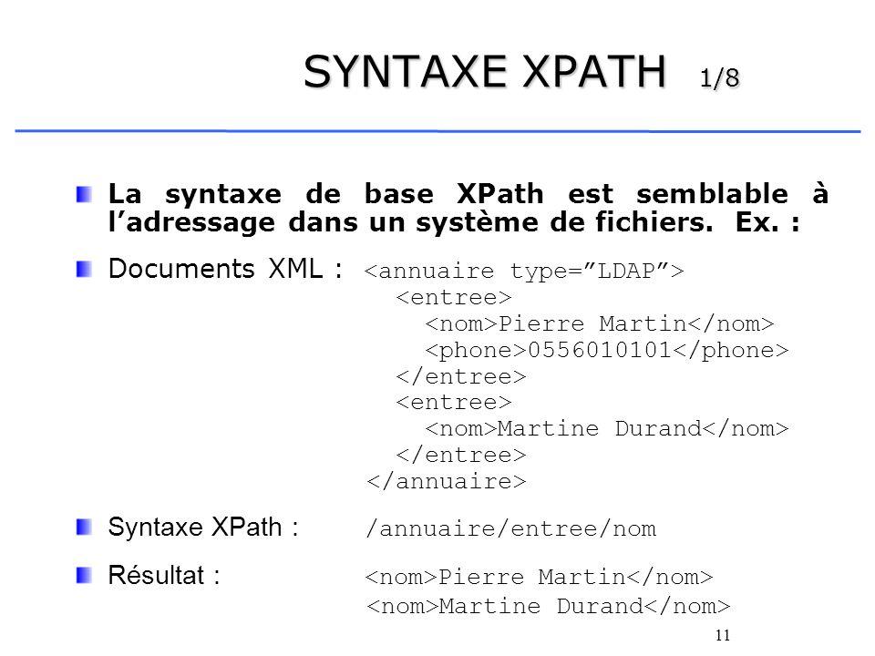 11 SYNTAXE XPATH 1/8 La syntaxe de base XPath est semblable à ladressage dans un système de fichiers. Ex. : Documents XML : Pierre Martin 0556010101 M