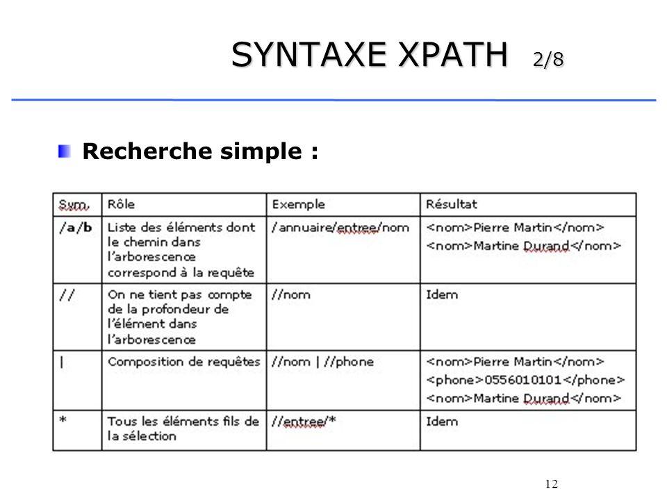 13 SYNTAXE XPATH 3/8 Autre exemple : Bonjour Hello