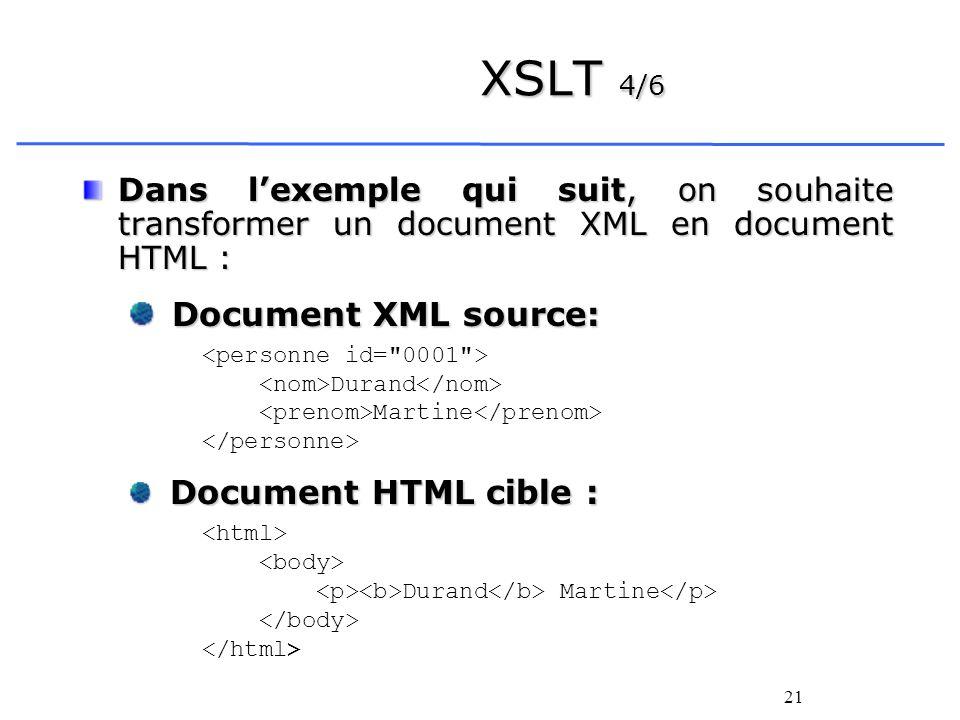 21 XSLT 4/6 Dans lexemple qui suit, on souhaite transformer un document XML en document HTML : Document XML source: Document XML source: Durand Martin