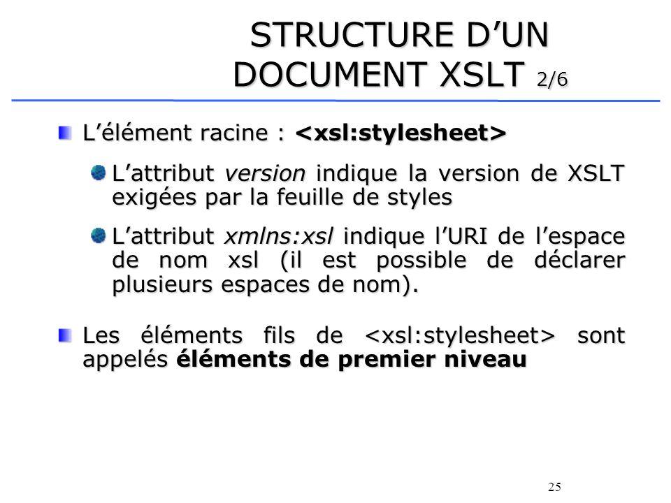 25 STRUCTURE DUN DOCUMENT XSLT 2/6 Lélément racine : Lélément racine : Lattribut version indique la version de XSLT exigées par la feuille de styles L
