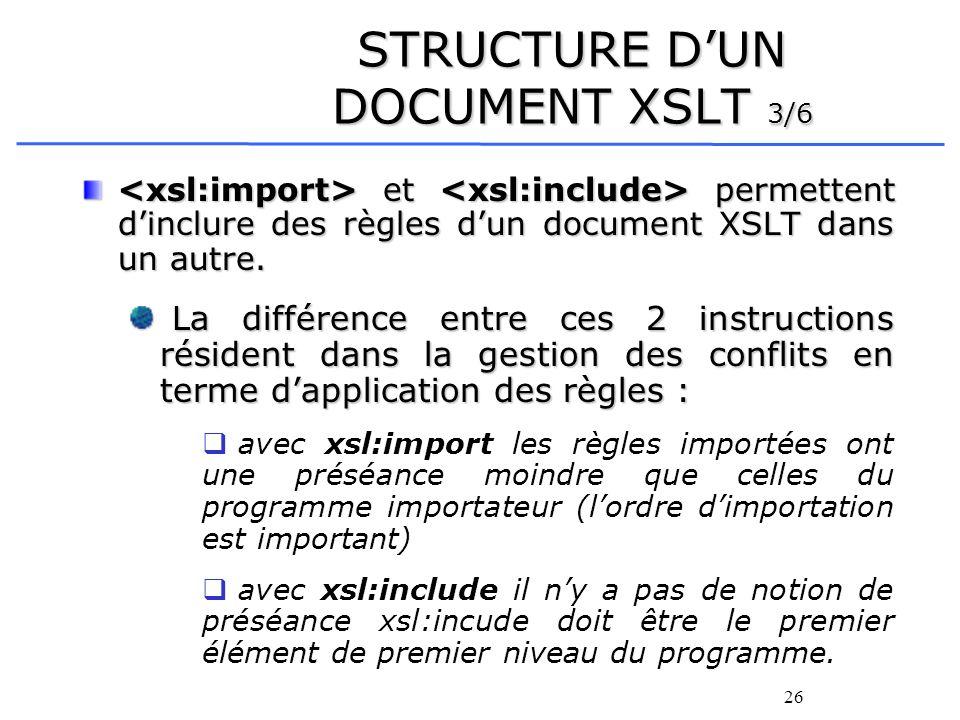 26 STRUCTURE DUN DOCUMENT XSLT 3/6 et permettent dinclure des règles dun document XSLT dans un autre. et permettent dinclure des règles dun document X