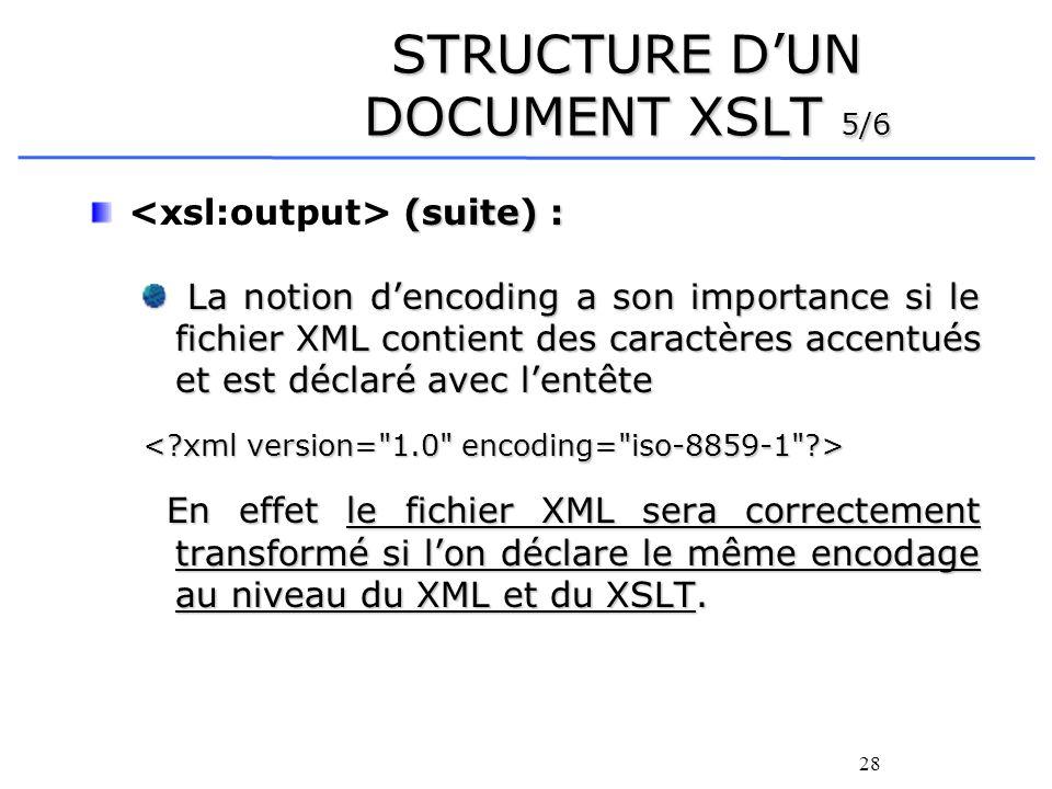 28 STRUCTURE DUN DOCUMENT XSLT 5/6 (suite) : La notion dencoding a son importance si le fichier XML contient des caractères accentués et est déclaré a