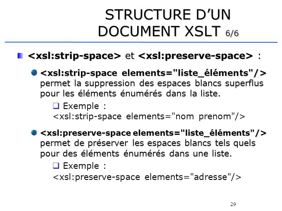 29 STRUCTURE DUN DOCUMENT XSLT 6/6 et : et : permet la suppression des espaces blancs superflus pour les éléments énumérés dans la liste. permet la su