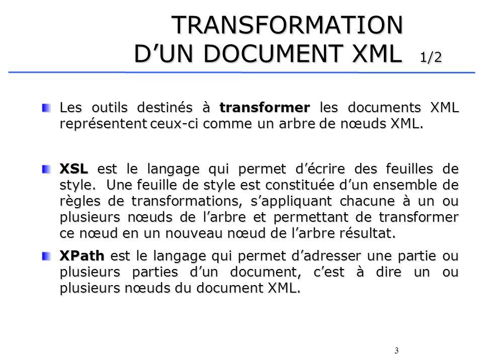 3 TRANSFORMATION DUN DOCUMENT XML 1/2 Les outils destinés à transformer les documents XML représentent ceux-ci comme un arbre de nœuds XML. XSL est le