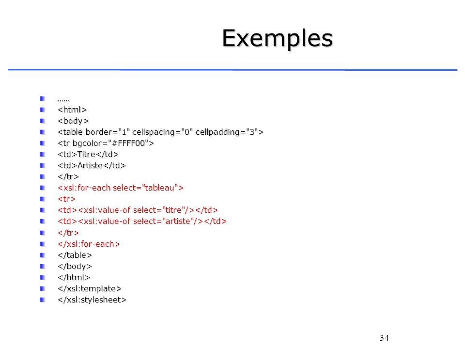 34 Exemples ……<html><body> <td>Titre</td><td>Artiste</td></tr> <tr> </tr></xsl:for-each></table></body></html></xsl:template></xsl:stylesheet>