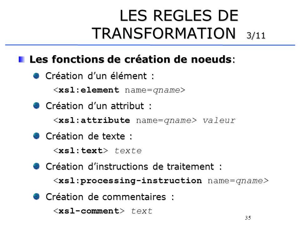 35 LES REGLES DE TRANSFORMATION 3/11 Les fonctions de création de noeuds: Création dun élément : Création dun élément : Création dun attribut : Créati