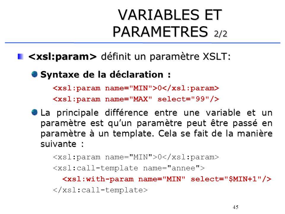 45 VARIABLES ET PARAMETRES 2/2 définit un paramètre XSLT: définit un paramètre XSLT: Syntaxe de la déclaration : 0 La principale différence entre une