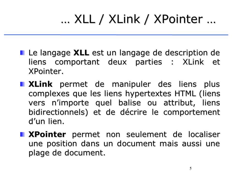 5 … XLL / XLink / XPointer … Le langage XLL est un langage de description de liens comportant deux parties : XLink et XPointer. XLink permet de manipu