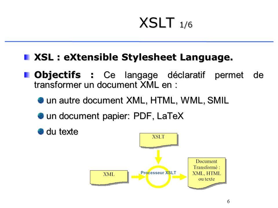 6 XSLT 1/6 XSL : eXtensible Stylesheet Language. Objectifs : Ce langage déclaratif permet de transformer un document XML en : un autre document XML, H