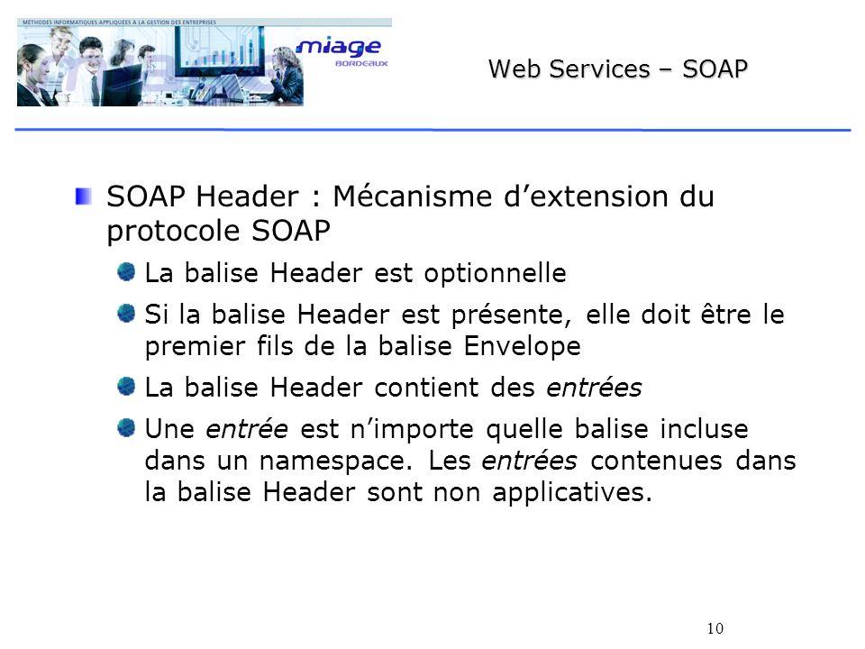 10 Web Services – SOAP SOAP Header : Mécanisme dextension du protocole SOAP La balise Header est optionnelle Si la balise Header est présente, elle doit être le premier fils de la balise Envelope La balise Header contient des entrées Une entrée est nimporte quelle balise incluse dans un namespace.