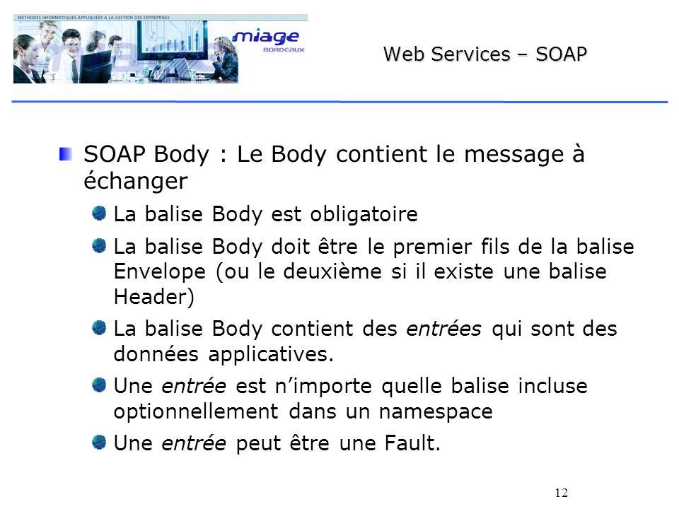 12 Web Services – SOAP SOAP Body : Le Body contient le message à échanger La balise Body est obligatoire La balise Body doit être le premier fils de la balise Envelope (ou le deuxième si il existe une balise Header) La balise Body contient des entrées qui sont des données applicatives.