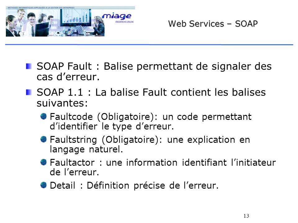 13 Web Services – SOAP SOAP Fault : Balise permettant de signaler des cas derreur.
