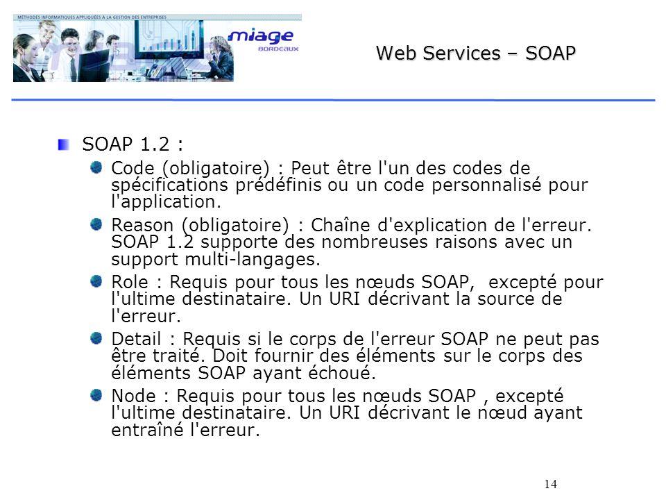 14 Web Services – SOAP SOAP 1.2 : Code (obligatoire) : Peut être l un des codes de spécifications prédéfinis ou un code personnalisé pour l application.