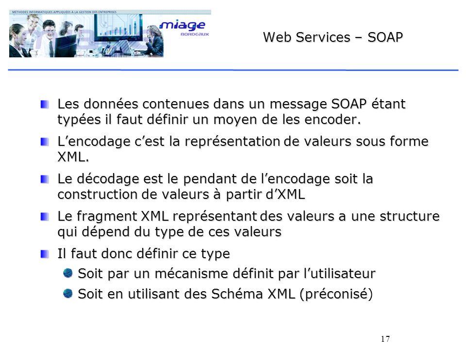 17 Web Services – SOAP Les données contenues dans un message SOAP étant typées il faut définir un moyen de les encoder.