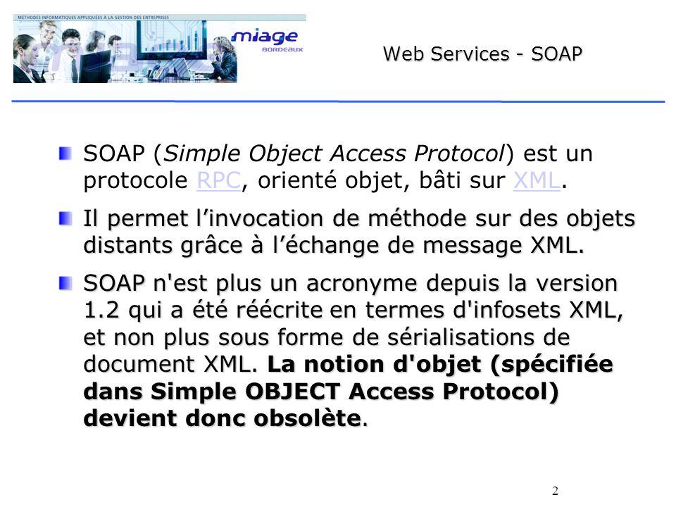 2 Web Services - SOAP SOAP (Simple Object Access Protocol) est un protocole RPC, orienté objet, bâti sur XML.RPCXML Il permet linvocation de méthode sur des objets distants grâce à léchange de message XML.