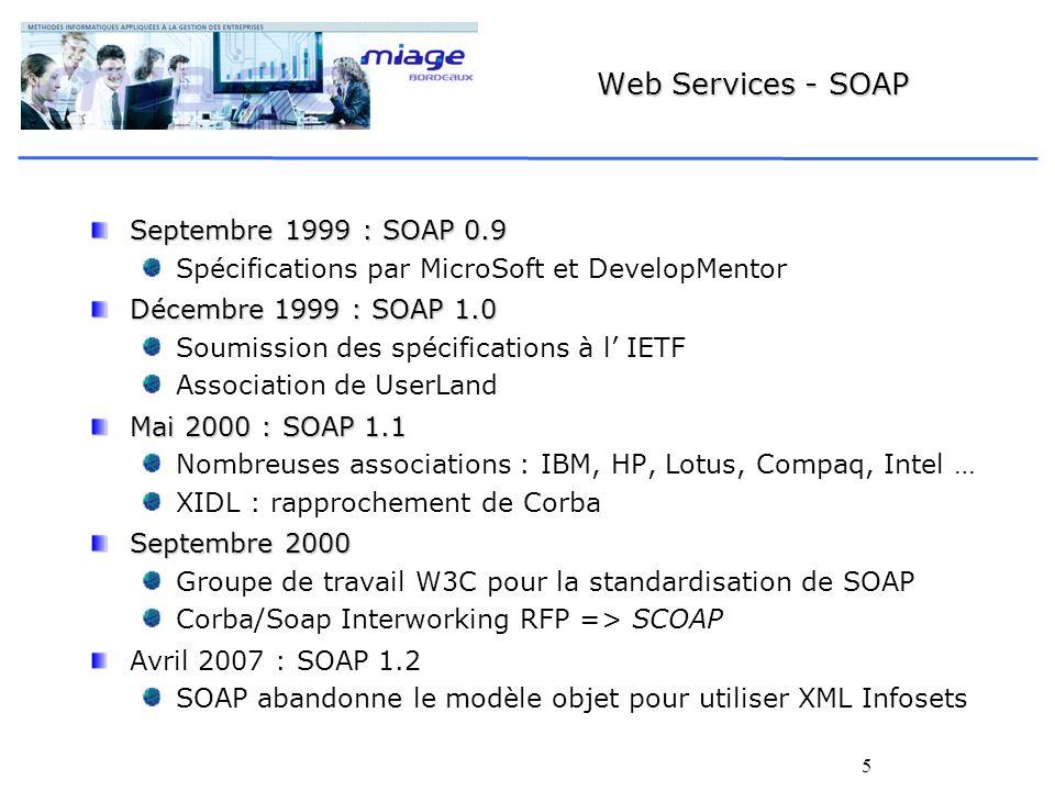5 Web Services - SOAP Septembre 1999 : SOAP 0.9 Spécifications par MicroSoft et DevelopMentor Décembre 1999 : SOAP 1.0 Soumission des spécifications à l IETF Association de UserLand Mai 2000 : SOAP 1.1 Nombreuses associations : IBM, HP, Lotus, Compaq, Intel … XIDL : rapprochement de Corba Septembre 2000 Groupe de travail W3C pour la standardisation de SOAP Corba/Soap Interworking RFP => SCOAP Avril 2007 : SOAP 1.2 SOAP abandonne le modèle objet pour utiliser XML Infosets