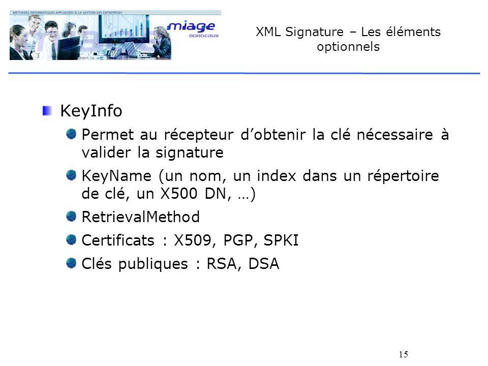 15 XML Signature – Les éléments optionnels KeyInfo Permet au récepteur dobtenir la clé nécessaire à valider la signature KeyName (un nom, un index dan