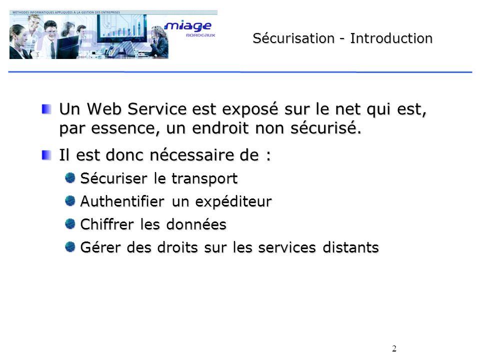 2 Sécurisation - Introduction Un Web Service est exposé sur le net qui est, par essence, un endroit non sécurisé. Il est donc nécessaire de : Sécurise