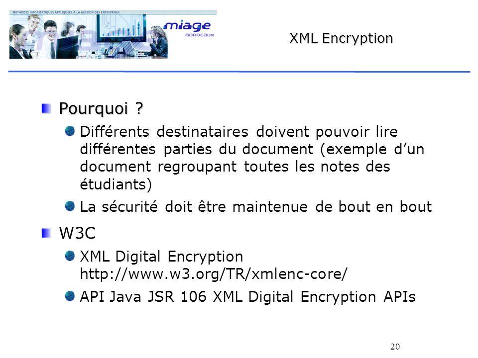 20 XML Encryption Pourquoi ? Différents destinataires doivent pouvoir lire différentes parties du document (exemple dun document regroupant toutes les