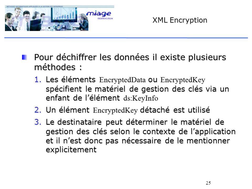 25 XML Encryption Pour déchiffrer les données il existe plusieurs méthodes : 1.Les éléments EncryptedData ou EncryptedKey spécifient le matériel de ge