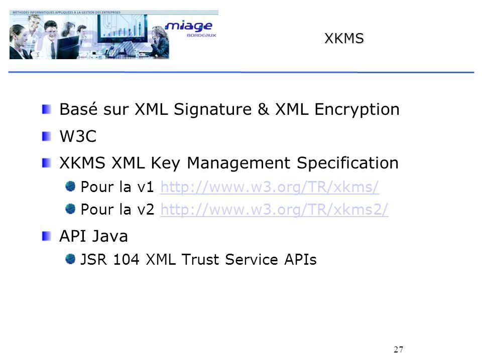 27 XKMS Basé sur XML Signature & XML Encryption W3C XKMS XML Key Management Specification Pour la v1 http://www.w3.org/TR/xkms/http://www.w3.org/TR/xk