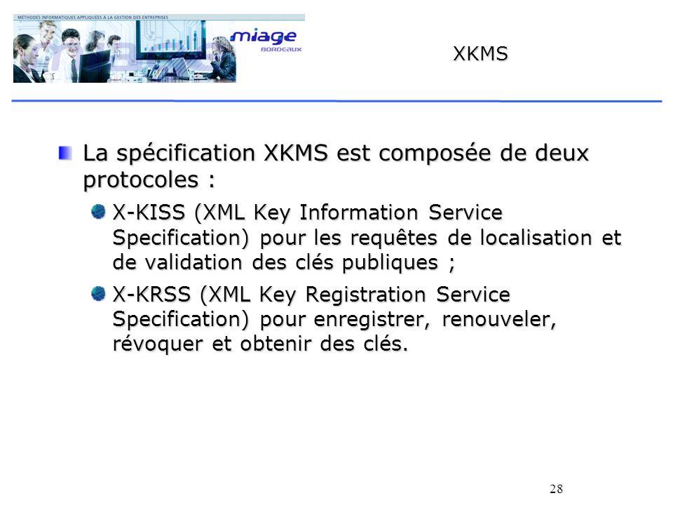28 XKMS La spécification XKMS est composée de deux protocoles : X-KISS (XML Key Information Service Specification) pour les requêtes de localisation e