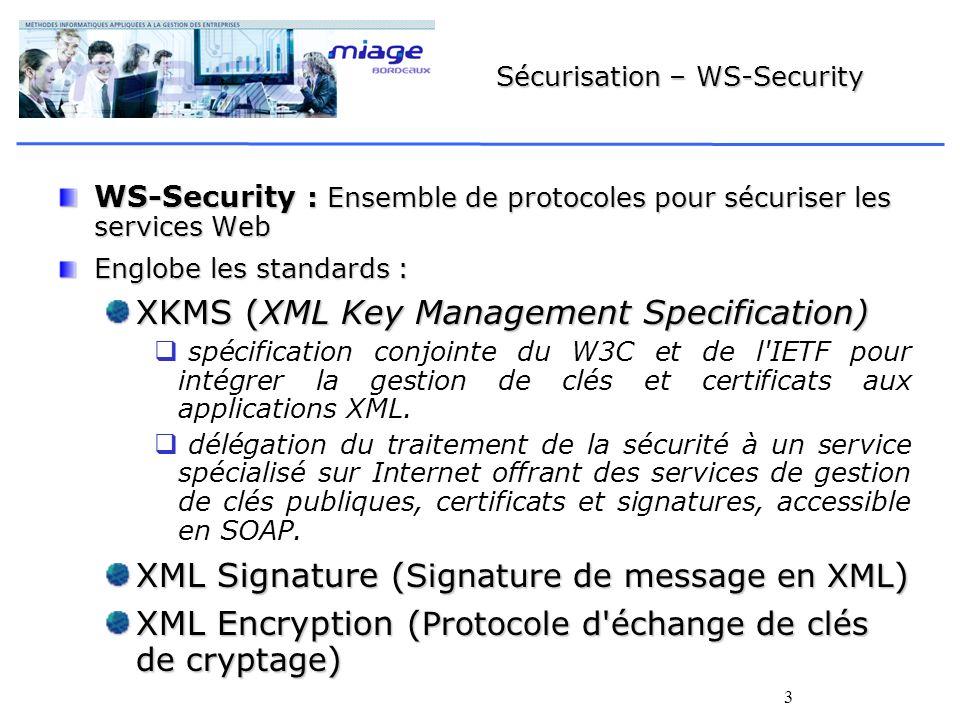 3 Sécurisation – WS-Security WS-Security : Ensemble de protocoles pour sécuriser les services Web Englobe les standards : XKMS (XML Key Management Spe