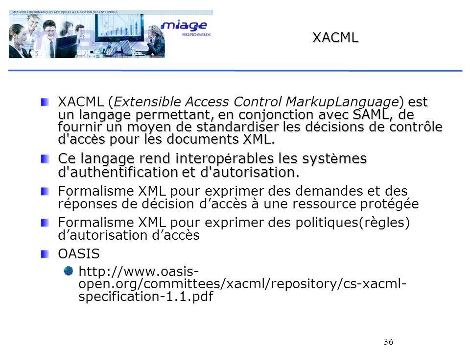 36 XACML est un langage permettant, en conjonction avec SAML, de fournir un moyen de standardiser les d é cisions de contrôle d'acc è s pour les docum