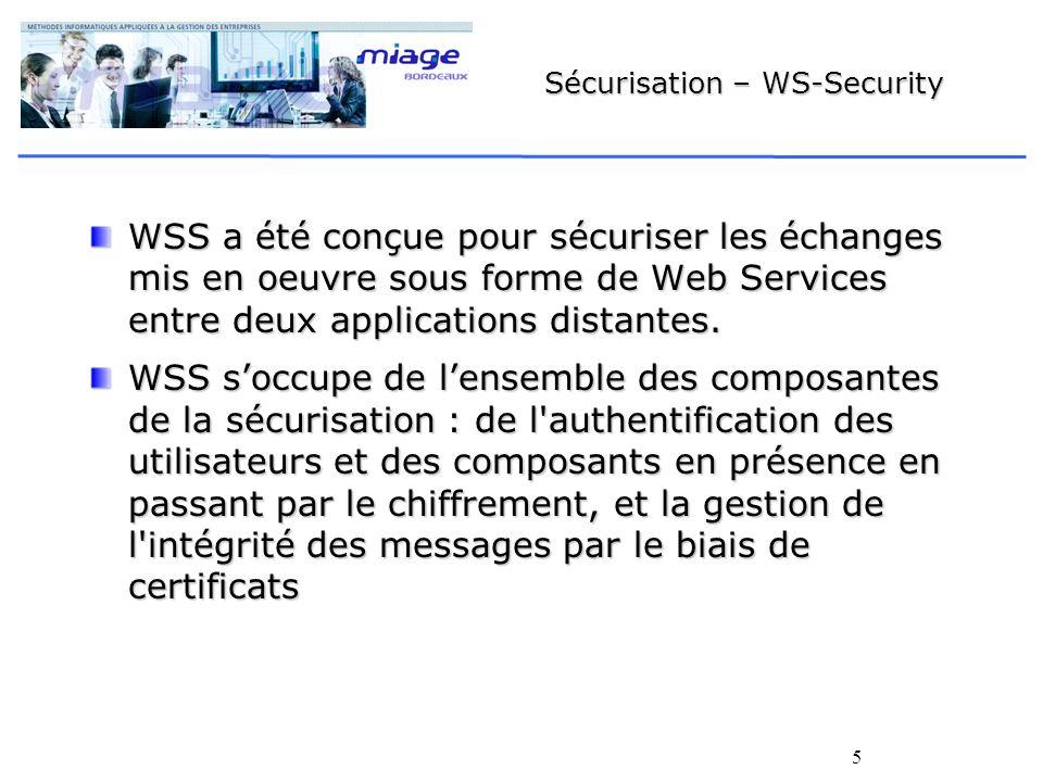 5 Sécurisation – WS-Security WSS a été conçue pour sécuriser les échanges mis en oeuvre sous forme de Web Services entre deux applications distantes.