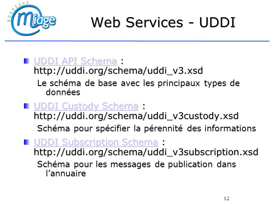 12 Web Services - UDDI UDDI API SchemaUDDI API Schema : http://uddi.org/schema/uddi_v3.xsd UDDI API Schema Le schéma de base avec les principaux types