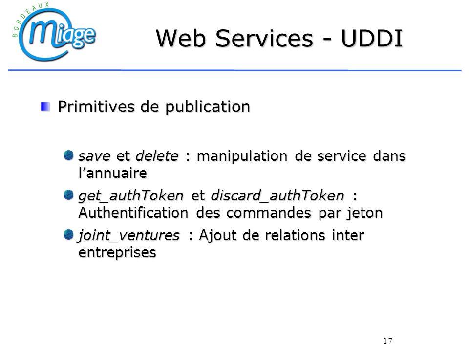 17 Web Services - UDDI Primitives de publication save et delete : manipulation de service dans lannuaire get_authToken et discard_authToken : Authenti