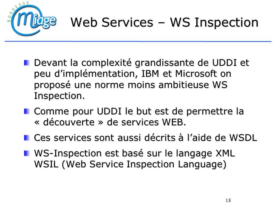 18 Web Services – WS Inspection Devant la complexité grandissante de UDDI et peu dimplémentation, IBM et Microsoft on proposé une norme moins ambitieu