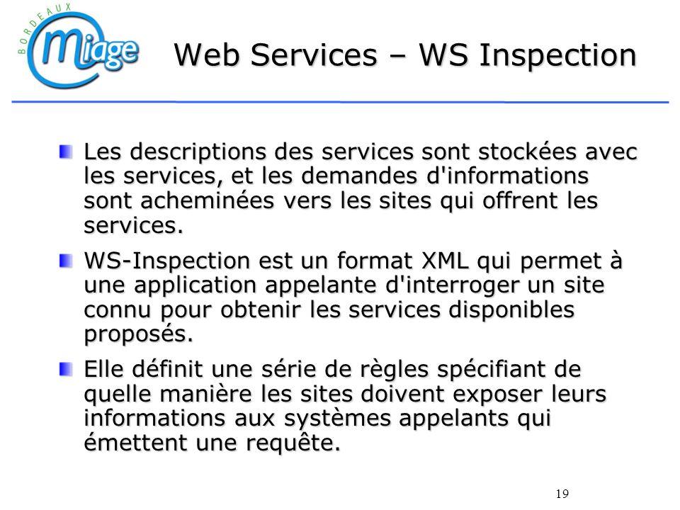 19 Web Services – WS Inspection Les descriptions des services sont stockées avec les services, et les demandes d'informations sont acheminées vers les
