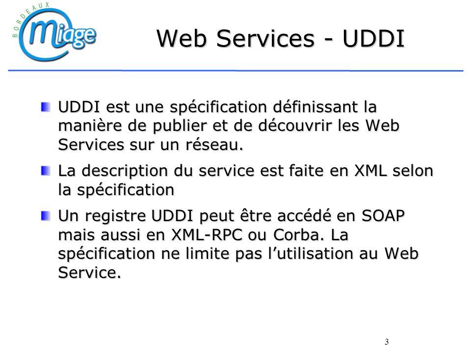3 Web Services - UDDI UDDI est une spécification définissant la manière de publier et de découvrir les Web Services sur un réseau. La description du s