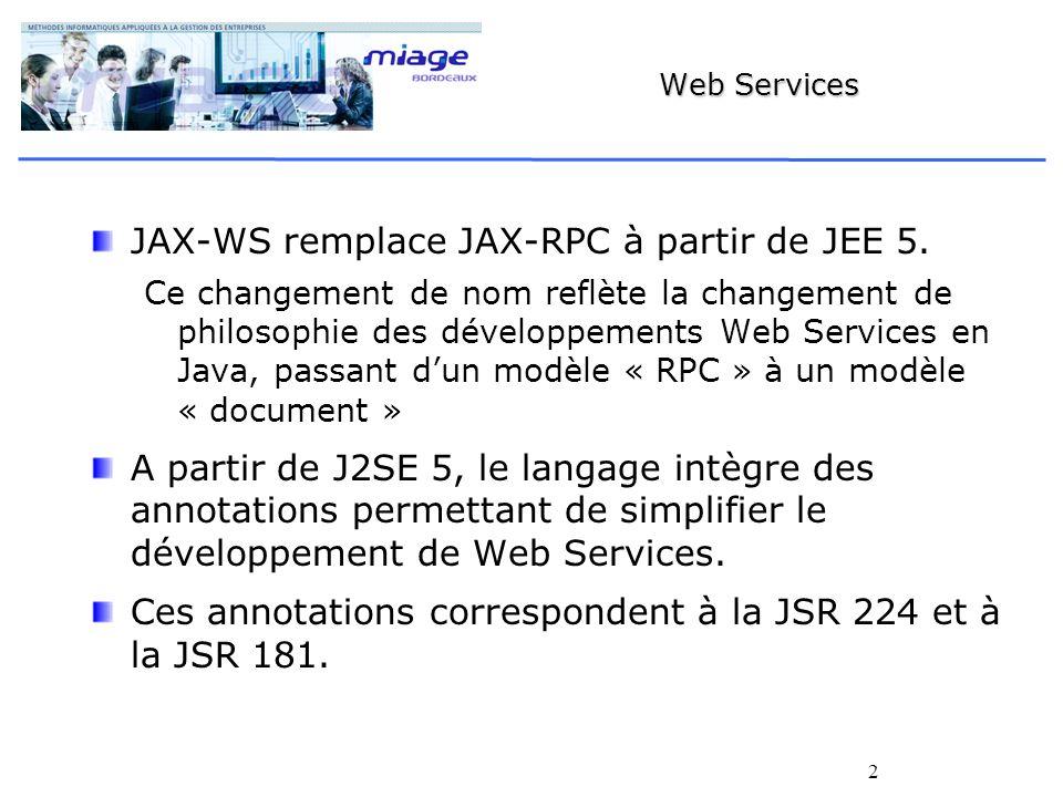 2 Web Services JAX-WS remplace JAX-RPC à partir de JEE 5. Ce changement de nom reflète la changement de philosophie des développements Web Services en