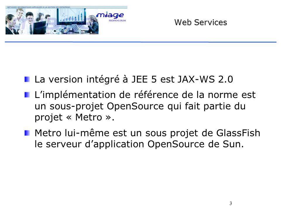 3 Web Services La version intégré à JEE 5 est JAX-WS 2.0 Limplémentation de référence de la norme est un sous-projet OpenSource qui fait partie du projet « Metro ».