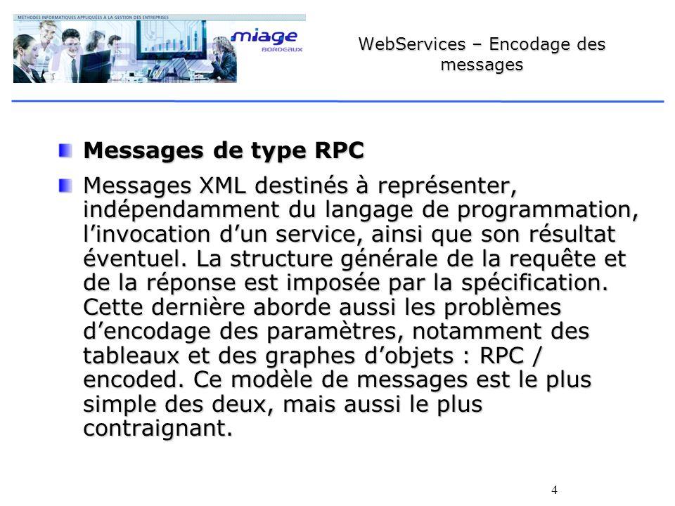 4 WebServices – Encodage des messages Messages de type RPC Messages XML destinés à représenter, indépendamment du langage de programmation, linvocation dun service, ainsi que son résultat éventuel.