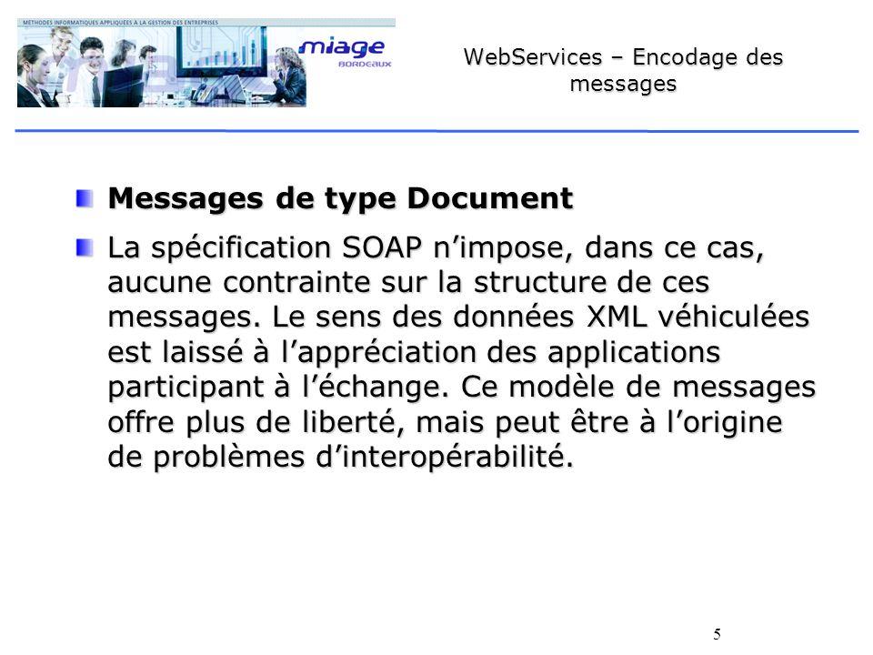 5 WebServices – Encodage des messages Messages de type Document La spécification SOAP nimpose, dans ce cas, aucune contrainte sur la structure de ces messages.
