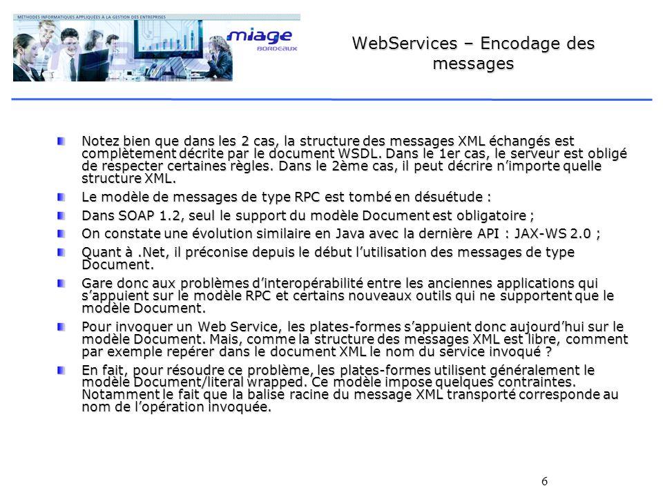 6 WebServices – Encodage des messages Notez bien que dans les 2 cas, la structure des messages XML échangés est complètement décrite par le document WSDL.