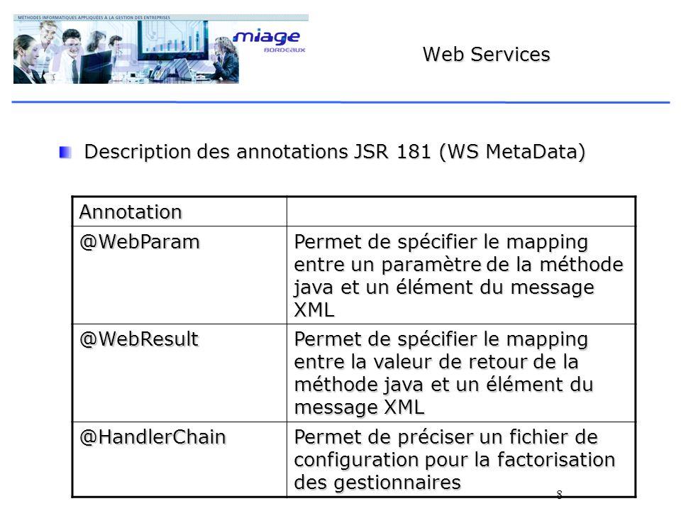 8 Web Services Description des annotations JSR 181 (WS MetaData) Annotation @WebParam Permet de spécifier le mapping entre un paramètre de la méthode java et un élément du message XML @WebResult Permet de spécifier le mapping entre la valeur de retour de la méthode java et un élément du message XML @HandlerChain Permet de préciser un fichier de configuration pour la factorisation des gestionnaires